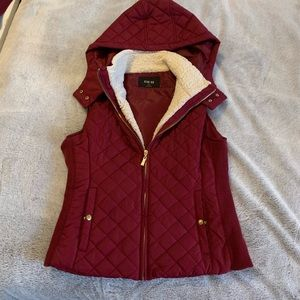 Maroon Quilted Puffer Vest